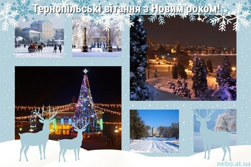 Тернопільські вітання з Новим роком! листівки, Тернопіль, зима, озеро, ялинка, Театральна площа, замок, парк