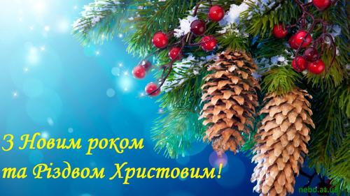 З Новим роком та Різдвом Христовим! вітальні листівки українською мовою. Новорічна ялинка, шишки