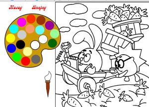 Флеш-розмальовка зайчик і їжачок для діток