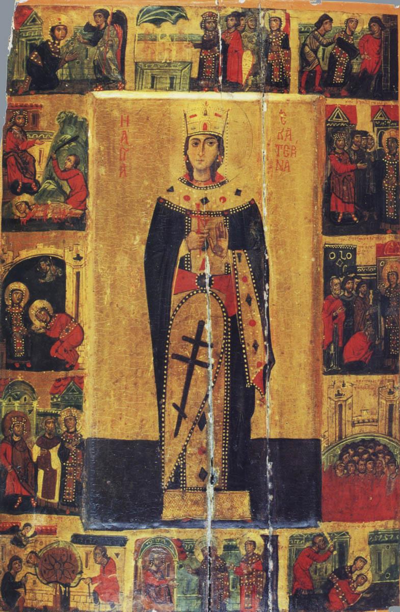 Акафіст святій великомучениці Катерині Александрійській. Великомучениця Катерина. Ікона, XIII століття. Монастир святої Катерини на Синаї (Єгипет)