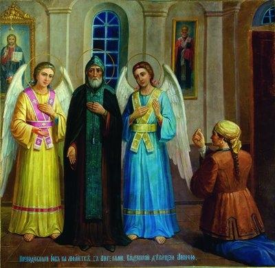 Явлення прп. Іова Почаївського з ангелами дівчині Анні