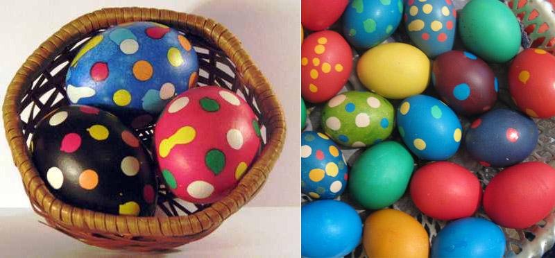Фарбуємо яйця в строкате за допомогою крапель воску